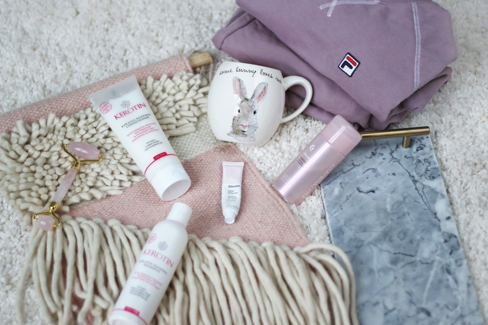 Fila, Glossier, Rae Dunn Mug, Better Homes and Gardens Marble Tray, Inexpensive Sweatsuit, Favorite Things, Glossier Solution, Jade Roller, Rose Quartz Roller, Serenity 7X, college blogger, lifestyle blogger, wisconsin blogger