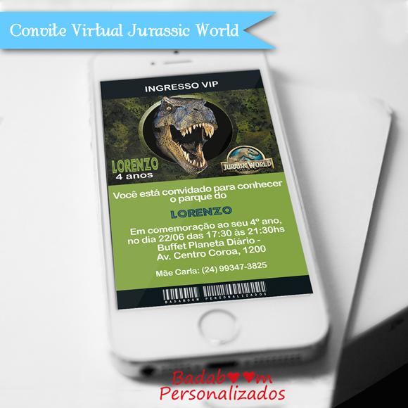 convite para enviar pelo whatsapp no tema Jurassic World ou em qualquer outro tema