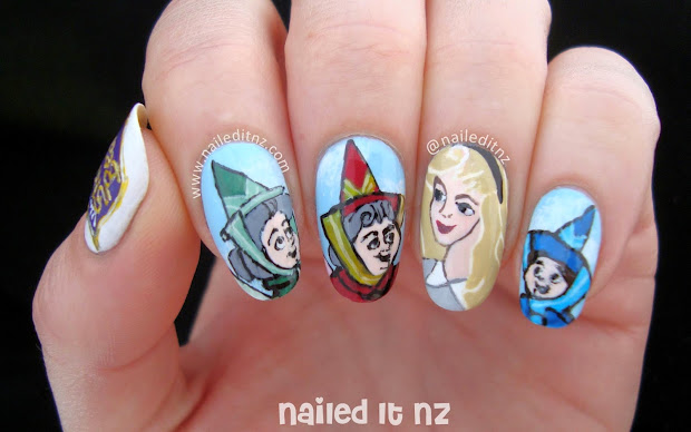 Disney Sleeping Beauty Nail Art