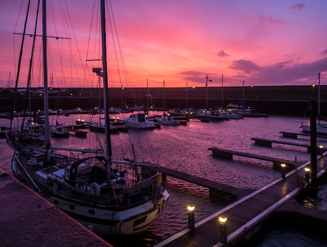 Photo of Maryport Marina in Cumbria, UK,  lit up by Saturday's sunset