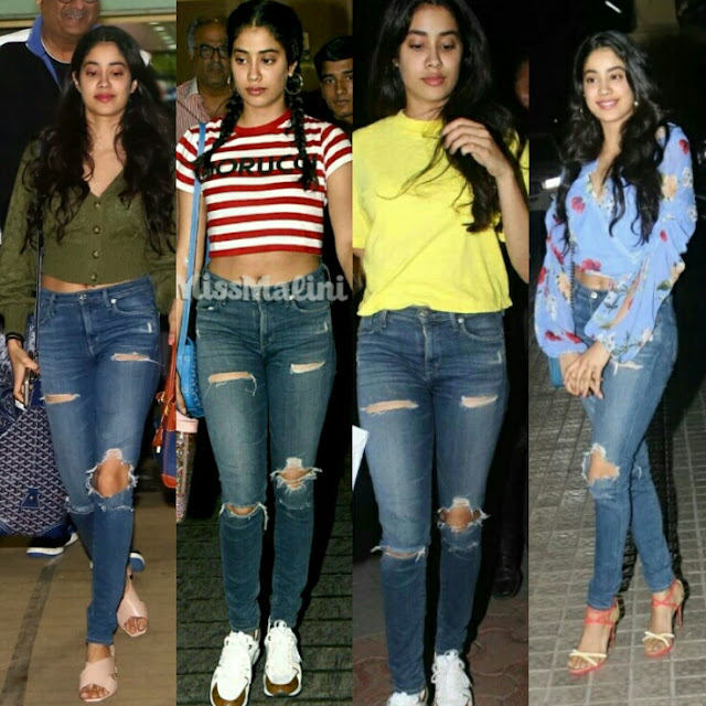 Jhanvi Kapoor in jeans, Jahnvi Kapoor stylish looks, janhvi Kapoor in jeans top, janhvi Kapoor new looks, janhvi Kapoor Airport looks, janhvi Kapoor cute hai, new comer, beautiful girls, Sridevi daughters, dhadak actress, dhadak ki heroine