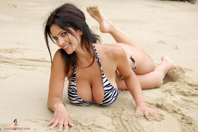 Denise Milani Beach Zebra HD Sexy Photoshoot Hot Photo 7