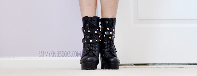 Details on the black faux leather studded buckled lace-up platform high heel boots from Milanoo--a super edgy, grunge-y pair of booties for the inner rocker in you.