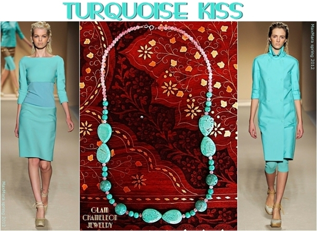 Glam Chameleon Jewelry turquoise and rose quartz necklace