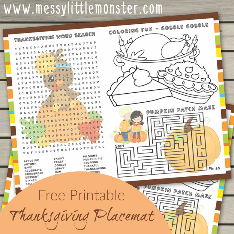 Thanksgiving Colouring Page & Activities - Free Printable placemats for kids