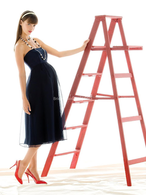 Simple Black Empire Tea Length Sleeveless Maternity Satin Bridesmaid Dress