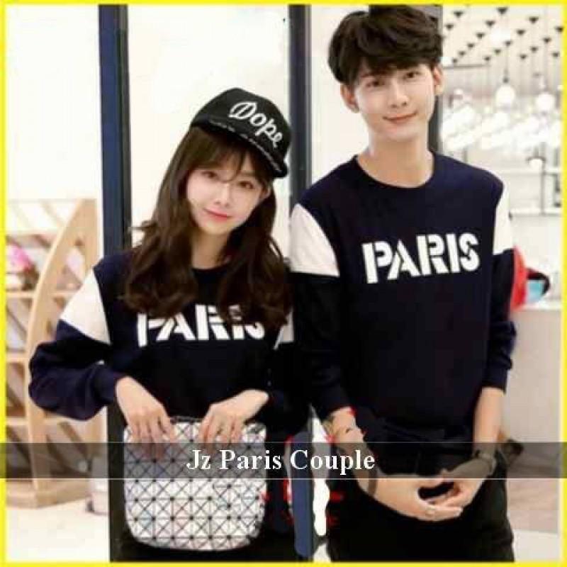 Jual Online Sweater Font Paris Couple Murah Jakarta Bahan Babytery Terbaru