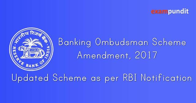 Banking Ombudsman Scheme 2006 – Amendment 2017