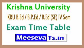 Krishna University KRU B.Ed / B.P.Ed / B.Ed (SE) IV Sem Exam Time Table 2017