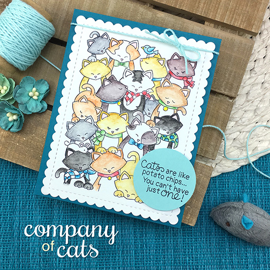 Cats are like potato chips card by Jennifer Jackson | Company of Cats Stamp Set and Frames & Flags die set by Newton's Nook Designs #newtonsnook