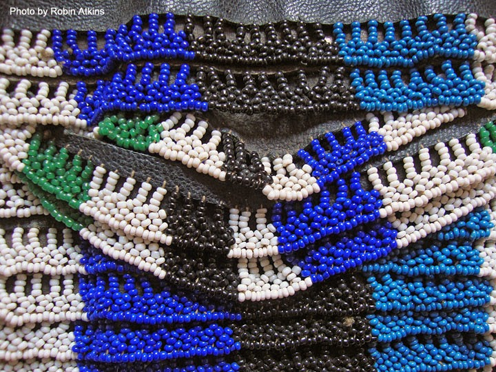 South African Zulu beadwork - man's apron - detail showing beaded surface edge stitching