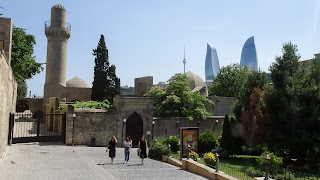 Old town and flame tower of Baku