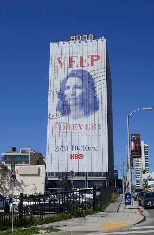 Giant Veep season 7 Forever stamp billboard