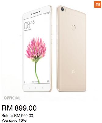 Lazada Malaysia Best Price Mi Max 3GB + 32GB (Gold)