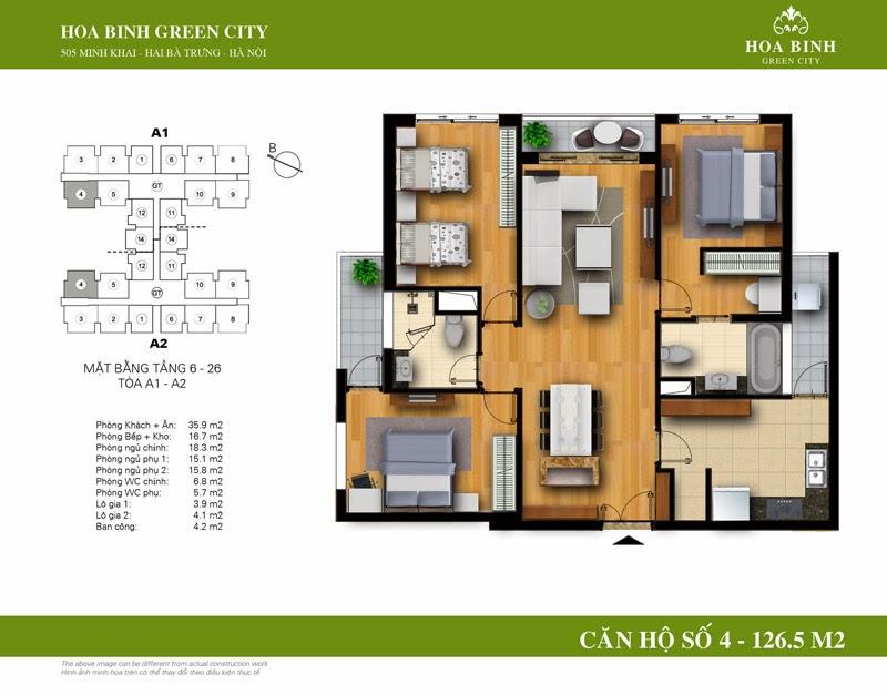 căn số 04 ( 126,5m2 ) chung cư Hòa Bình Green City