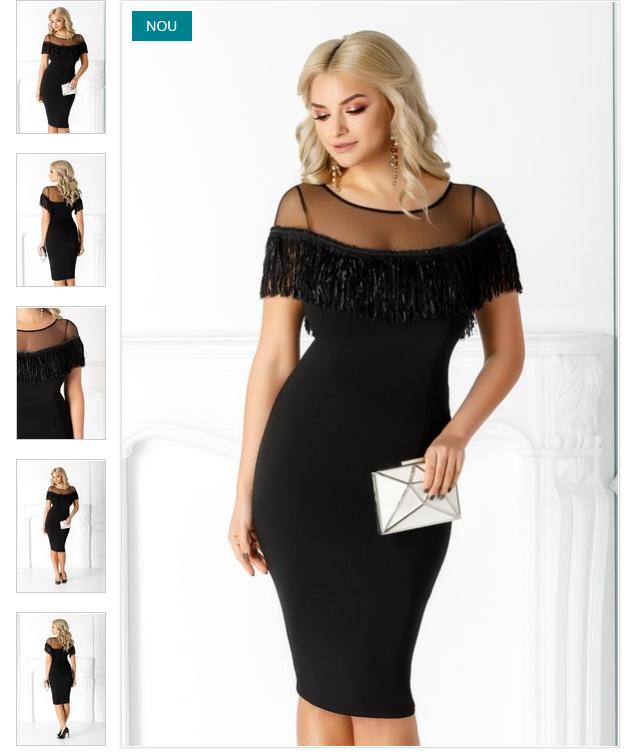 rochie neagra eleganta  tull transparent la bust  accesorizata cu franjuri  croi conic