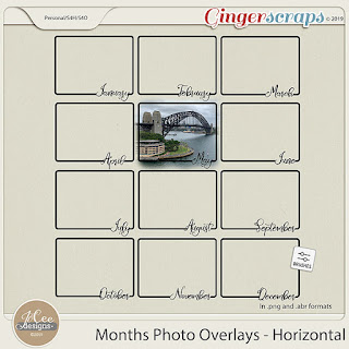 Creative Team, Annemarie, for GingerScraps –- Months Photo Overlays – Horizontal by JoCee Designs and Coordinating Freebie