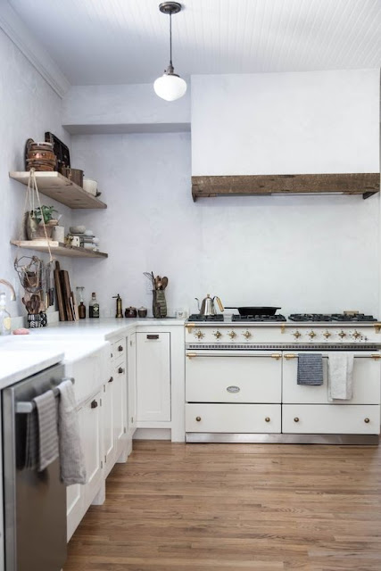 Modern farmhouse white kitchen with Lacanche Sully range, Local Milk