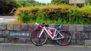 みなとが丘ふ頭公園に止めたロードバイク