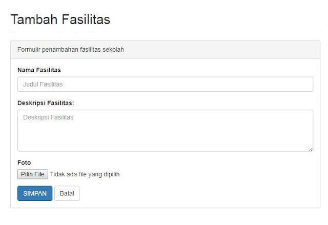 menu untuk nambah fasilitas di Aplikasi PPDB