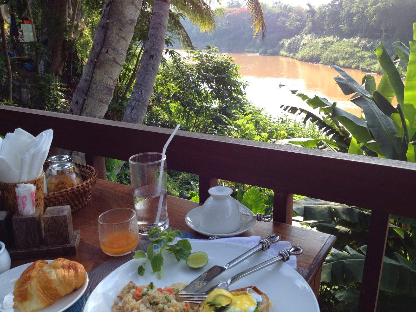 Luang Prabang - River view during breakfast at our hotel