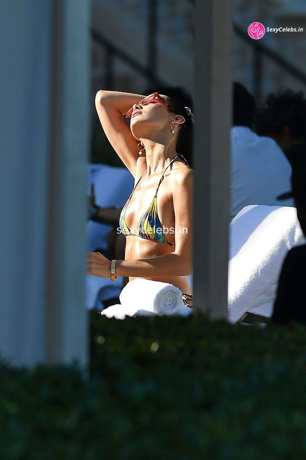 Bella Hadid Sexy body huge tits sexy ass in tiny colorful bikini WOW Beach Side Booty Pics