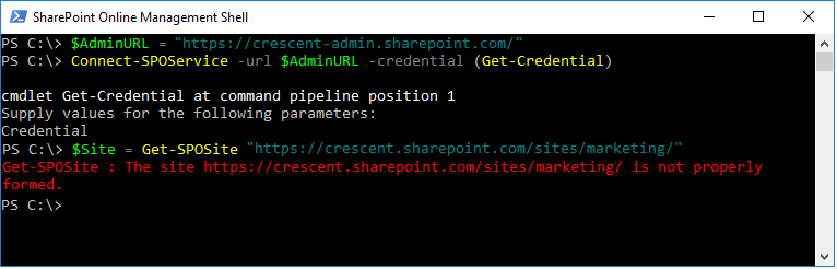 "Get-SPOSite: The Site ""https://tenant.sharepoint.com/"" is not properly formed"