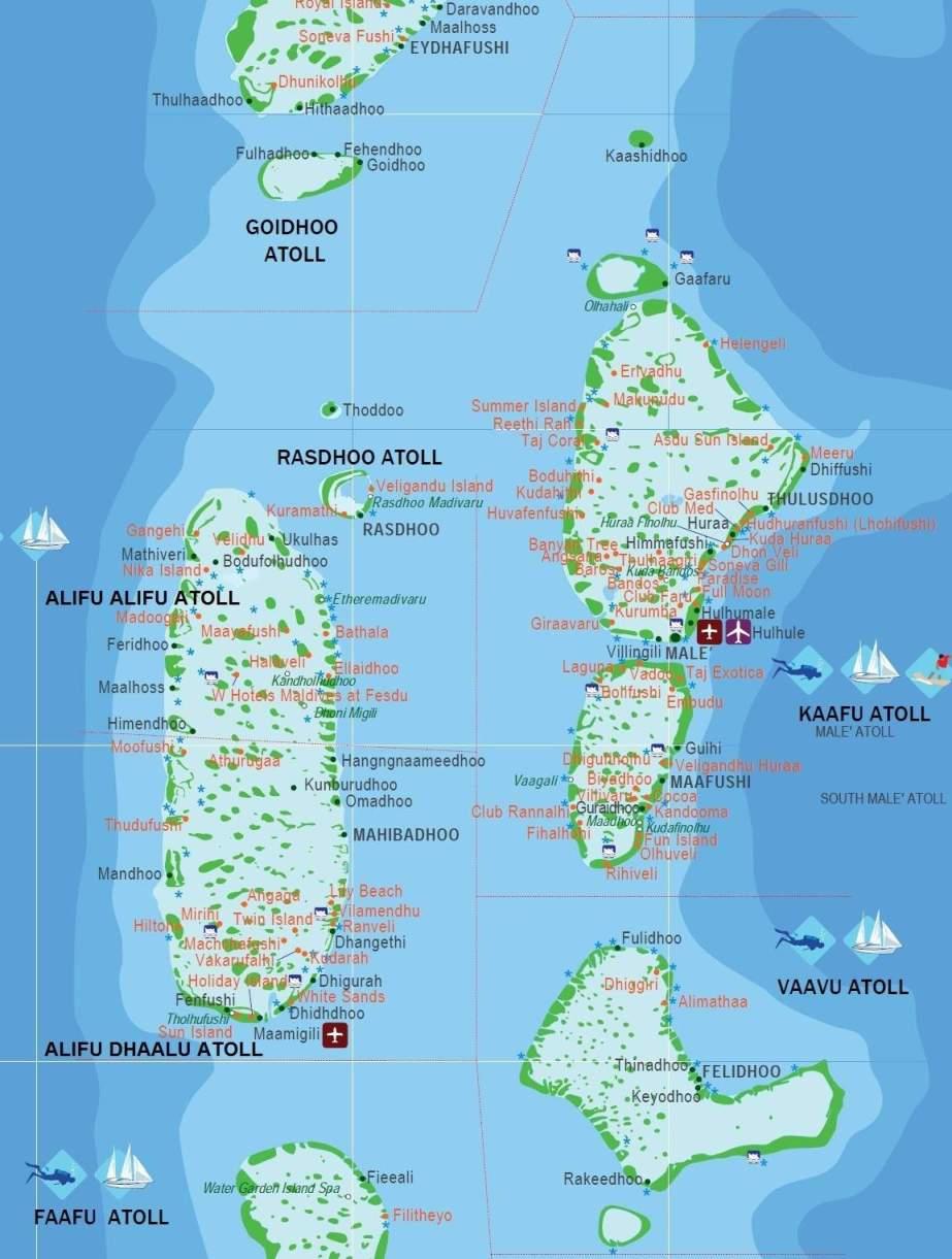 Maldivas | Mapas Geográficos das Ilhas Maldivas