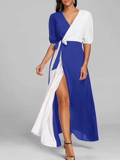 Puff Sleeve Color Block High Slit Maxi Dress - Blue
