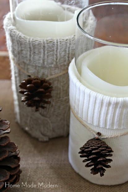 sweater vases with pinecones