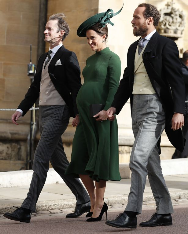 Heavily pregnant Pippa stuns in forest green as she arrives at Windsor with husband and brother