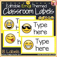 Emoji Themed Classroom Labels Editable