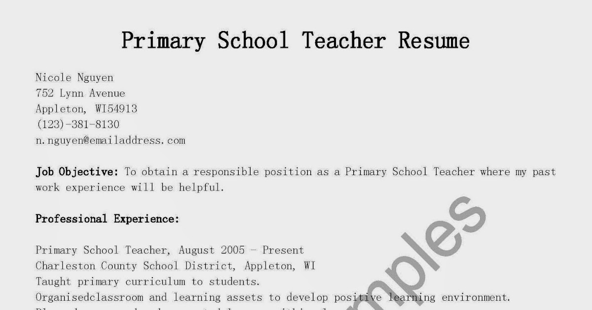 Resume For Primary Teaching Job Fresher لم يسبق له مثيل الصور