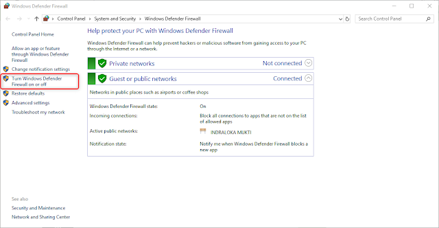 Cara Menonaktifkan Firewall