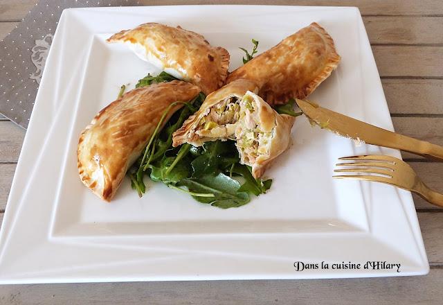 Chaussons à la fondue de poireau et au saumon