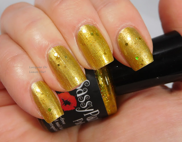 Sassy Pants Polish Luster Of Midday over Barry M Gold Foil
