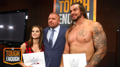 WWE Tough Enough Season 6 winners Sara and Josh with COO Triple H