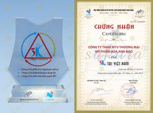 """Công ty Mỹ phẩm Hoa Anh Đào vinh dự được trao giải thưởng """"Hàng chính hiệu - Thương hiệu chính hãng 2014"""""""