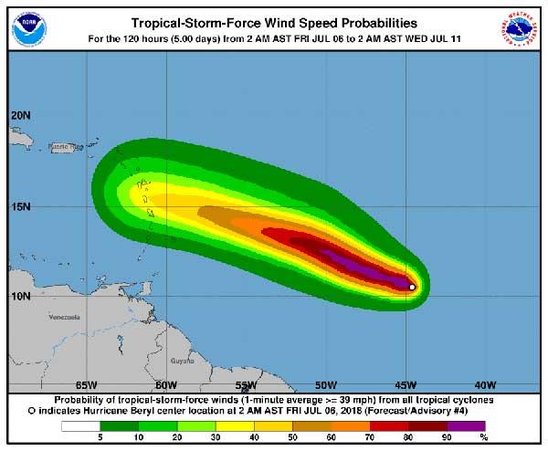 vídeo huracán Beryl, categoría 1