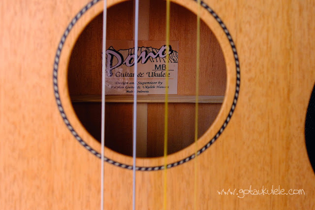 Pono MB-e Baritone ukulele sound hole and label