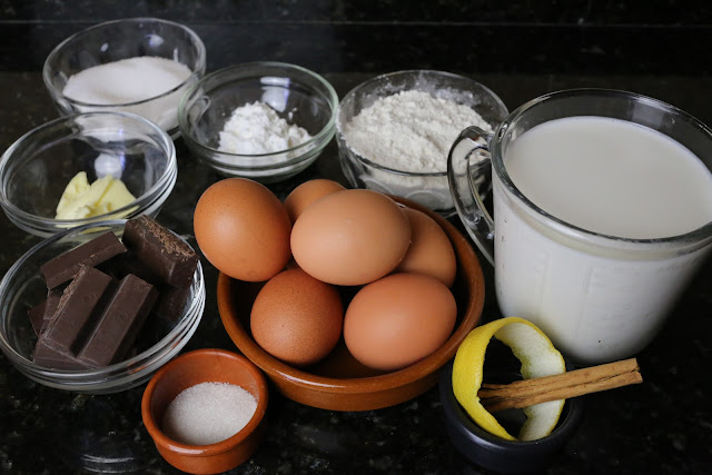 Ingredientes para cuñas de crema y chocolate