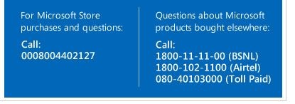 Microsoft Windows 10 Customer Care Number india