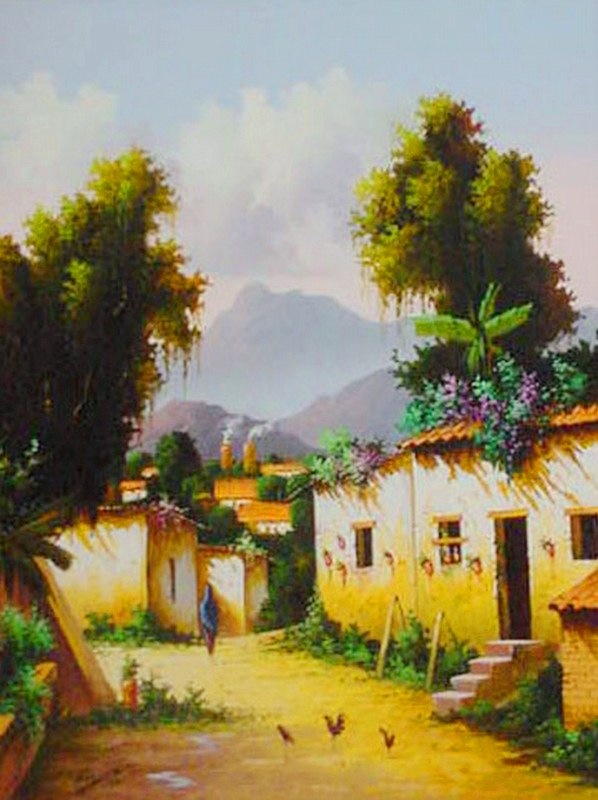 Cuadros modernos pinturas y dibujos paisajes al leo de for Cuadros mexicanos rusticos
