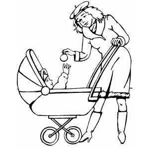 mother and her baby in a stroller ~ Child Coloring
