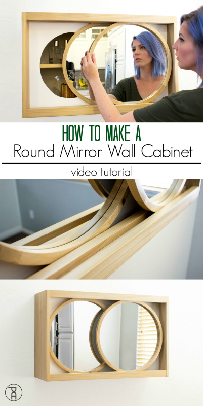 diy how to build make wood mirror rolling wall bathroom round cabinet storage