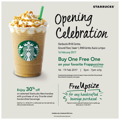 Starbucks Malaysia Buy One Free One Frappuccino Special Opening Promo
