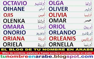 Nombres en arabe: Olga Oliver Olivia Omar Orlando