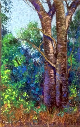 Corrections made on a soft pastel painting of tree  by Manju Panchal