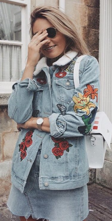 double denim outfit / embroidered jacket + skirt + white bag