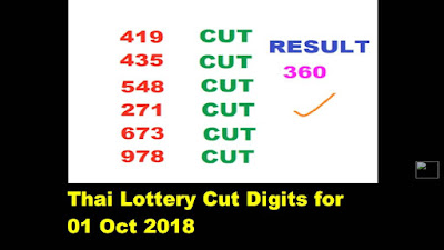 Thai lottery Cut Digit tips prize bond number full 4PC Papers 01 October 2018